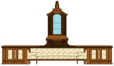 Rendering with Windows Paint that I did of the Maple Drawing-Room's display cabinet and cosy-corner sofa near the Palisander Drawing-Room. This cabinet displayed the Empress' Faberge' Easter Eggs amongst other things. **PLEASE** Do not take as your own! Credit accordingly. Thank-you!!