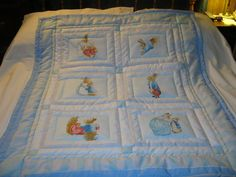 Baby Peter Rabbit, His Mother And Sisters Cotton Baby/Toddler Quilt- NEWLY MADE 2015 by quilty61 on Etsy