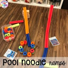 This would be fun for teaching top and bottom! Summer themed blocks center ideas (with pool noodles) plus tons of summer themed activities your preschool, pre-k, and kindergarten kiddos will LOVE! Block Center Preschool, Preschool Centers, Preschool Science, Preschool Classroom, Activity Centers, Preschool Crafts, Classroom Ideas, Preschool Summer Theme, Summer Daycare