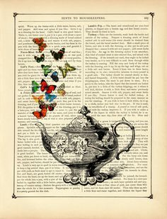 Butterflies and a teapot // Victorian book page art print, via Etsy.