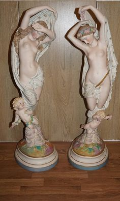Bisque porcelain statuettes by Vion et Baury 1860 Night and