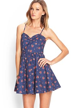 Dotted Rose Fit & Flare Dress   Forever 21 Canada