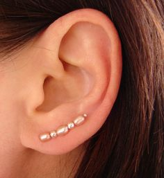 Ear Pin  Sterling Silver and Pink Freshwater by TheGratitudeStudio, $15.00