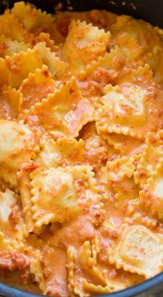 Ravioli with Creamy Sun-dried Tomato and Basil Sauce