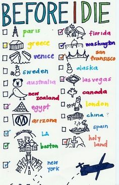 Bucket list. Paris is my favorite. It's at the top of the list. I want to go there most! -becca