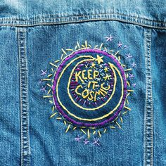 Keep It Cosmic Hand-Embroidered Denim Baby Jacket SALE 2019 clothing clothing labels clothing patches clothing wholesale flower clothing fly shirts shirts for ladies shirts sunshine coast style clothing tee shirts clothing Sommer Garten Hochzeits Kleider Clothing Labels, Diy Clothing, Kids Denim Jacket, Jacket Jeans, Embroidered Clothes, Embroidered Denim Jacket, Painted Clothes, Up Girl, Needle And Thread