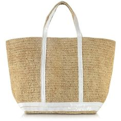 Vanessa Bruno Handbags Les Cabas Large Raffia and Sequins Tote (7 285 UAH) ❤ liked on Polyvore featuring bags, handbags, tote bags, beige, brown purse, handbags totes, beach tote, man bag and sequin tote