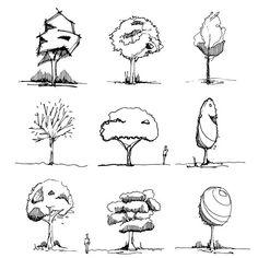 Landscape Sketch, Landscape Drawings, Art Drawings, Tree Sketches, Cartoon Sketches, Architectural Trees, Architecture Concept Drawings, Urban Sketching, Art Sketchbook