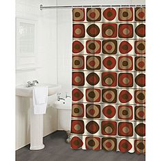 red and tan shower curtain.  Maytex Meridian Fabric Shower Curtain Red