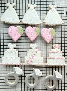 Items similar to Decorated Wedding Themed Cookies. Cakes, dresses, brush embroidery hearts, and engagement rings on Etsy Fancy Cookies, Iced Cookies, Cut Out Cookies, Royal Icing Cookies, Cupcake Cookies, Sugar Cookies, Wedding Dress Cookies, Wedding Shower Cookies, Baby Shower Cookies