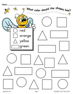 Practice color and shape recognition with your toddlers, preschoolers, and kindergartners using these fun bee themed shapes coloring pages!