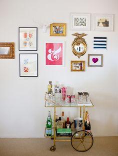 cute art and bar cart