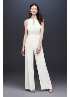 Beaded Jersey Halter Wedding Jumpsuit with Keyhole 3650 Wedding Suits a83734dabd53