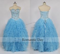 Sweetheart Beads Bodice Ruffles Blue Long Quinceanera Dress/Long Party Formal Ball Gown/Sweet 16 Dresses/Custom Made 0442