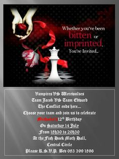 Vampires vs werewolves party invite