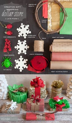 Creative Gift Wrapping: using Dollar Store finds