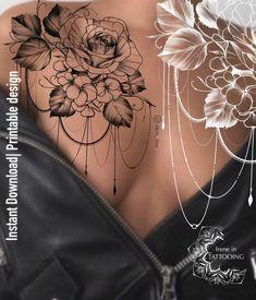 Shoulder Piece Tattoo, Rose Chest Tattoo, Front Shoulder Tattoos, Rose Tattoos, Flower Tattoos, Chest Tattoo Flowers, Henna Chest, Tattoos For Women Flowers, Hip Tattoos Women