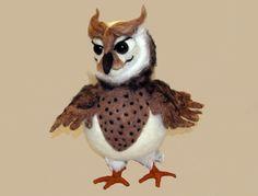 Huima Hemmo neulahuovutettu pöllö Needlefelted owl