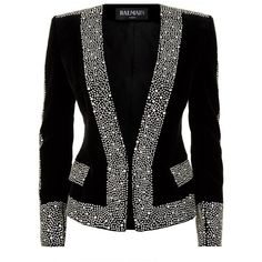 Balmain Crystal Embellished Velvet Jacket ($2,995) ❤ liked on Polyvore featuring outerwear, jackets, glitter jacket, balmain, black velvet jacket, balmain jacket and black jacket