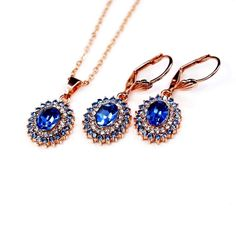 Rose Gold Plated Blue Cubic Zirconia And Rhinestones Necklace Earrings Set | eBay