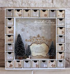 Note glitter around edges of boxes, glitter stars and snowflakes on background with wood elements and trees with forest animals in foreground Christmas Wood, Christmas Projects, All Things Christmas, Vintage Christmas, Christmas Holidays, Christmas Decorations, Christmas Colors, Xmas, Advent Calenders