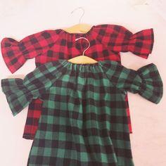Girls buffalo plaid flannel Dress green Plaid by ShelbyJaneandCo