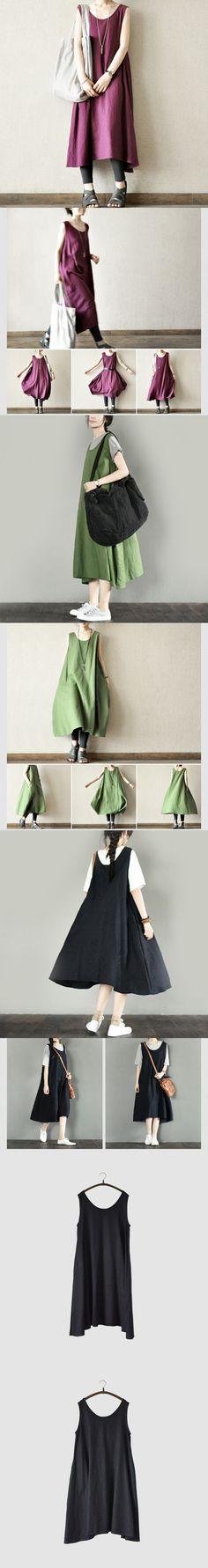 Blue Free Style Simple Sleeveless Long Linen Dress Summer Dress fantasylinen