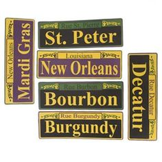 """Mardi Gras Street Signs by Century Novelty. $3.79. Wild and Crazy Mardi Gras Fun Starts with Decorations! The Mardi Gras Street Sign Cutouts are a great addition to any party. Just hang on door or wall for instant fun. Six street signs per package. 12"""" long and 4"""" wide. New Orleans street names printed on signs. Printed on one side. Put your guest in the Mardi Gras mood with Mardi Gras Party Decorations. Start the party off right and make your guest feel like they are in..."""