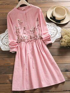 Floral Embroidery Long Sleeve Sweet Dress For Women Casual Dresses, Fashion Dresses, Floral Dresses, Maxi Dresses, Long Sleeve Floral Dress, Sleeve Dresses, Vestidos Vintage, Sweet Dress, Ladies Dress Design