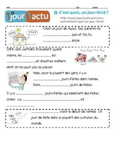 French listening activity: JOURS FERIES / HOLIDAYS