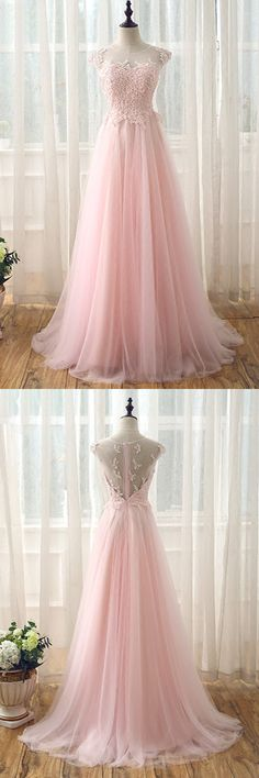 Pink tulle long lace prom dress, see through back long evening dress #promdress #promdresses #promgown #promgowns #long #pinkprom #modestpromdress #newpromdress #2018fashions #newstyles