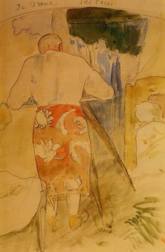 Self portrait, at work by @paul_gauguin #postimpressionism