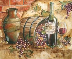 """Wine Barrel 2"" ~ Tre Sorelle Studios Decoupage Vintage, Vintage Diy, Wine Painting, Painting On Wood, Art Carte, Wine Decor, Wine Art, Tile Murals, Vintage Flowers"