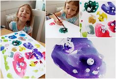 3 years kids art painting with watercolors and wax