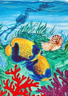 ANGEL PAIR      fish scuba underwater ACEO