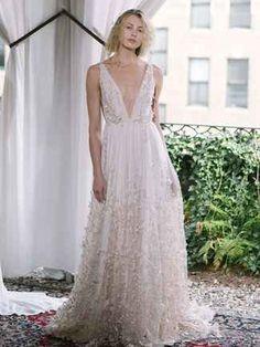 Deep v-neckline floral a-line wedding dress   Alexandra Grecco Fall/Winter 2018