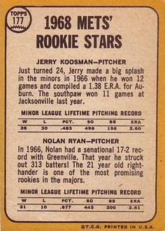 1968 Topps #177 Jerry Koosman / Nolan Ryan Back