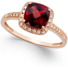 Garnet (2-1/4 ct. t.w.) and Diamond Accent Ring in 14k Rose Gold ($450) ❤ liked on Polyvore featuring jewelry, rings, rose gold, garnet jewelry, 14k ring, cushion cut garnet ring, pink gold rings and 14 karat gold ring