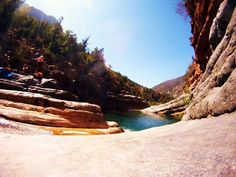Fish eye view down the valley. Just one waterfall, to another rock pool, to another….  www.SurfBerbere.com