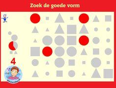 Zoek alle goede cirkels, vierkanten of driehoeken met kleuters op digibord of computer op kleuteridee, Kindergarten forms for IBW or computer