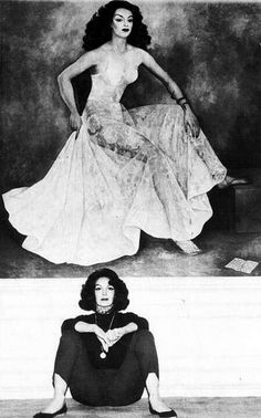 Maria Felix Posing In Front Of Portrait Of Self By Artist Diego Rivera.