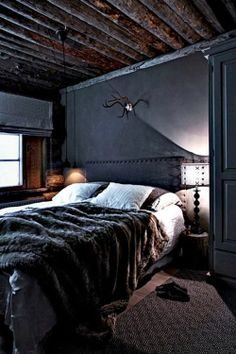 Masculine Crafty Rustic Dark Interior Design Bedroom I Want To Lay In This Bed For Hours