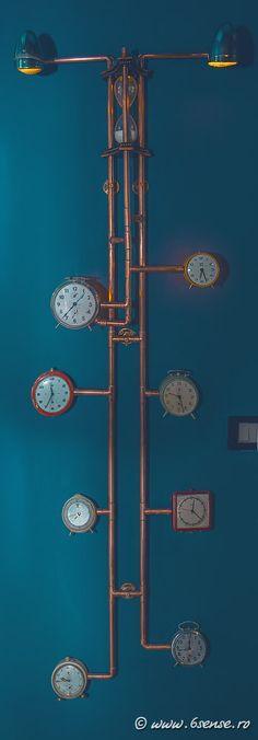 The Abyss, Italy, Interior design, bar, pub, Kraken, water, marine, blue, copper, steampunk, octopus, musical, instruments, time, clocks