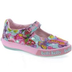 Lelli Kelly Shoes - Light Blue Fantasy Maisie Butterfly Dolly Canvas Shoes LK4108