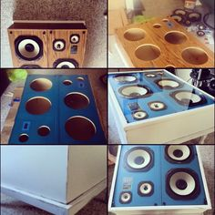 A coffee table made from speakers