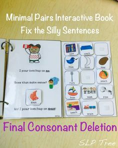 This interactive book works on reduction of the phonological process of Final Consonant Deletion in a fun and silly way. This book uses minimal pairs and silly pictures to teach students that omitting the final sound of the word completely changes the meaning.