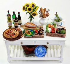 PIzza Buffet Table by Bliss Miniatures