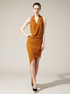 Helix Leather Trim Asymmetrical Dress by Helmut Lang on Gilt