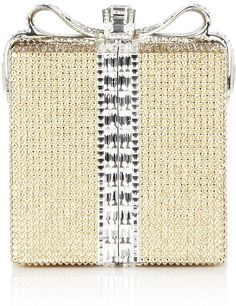 #Judith Leiber Gift Box Clutch in Silver