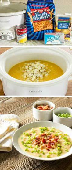 """6 minutes to skinny - Skinny Crock Pot Loaded Potato Soup Weight Watchers per serving, serves - Watch this Unusual Presentation for the Amazing to Skinny"""" Secret of a California Working Mom Crock Pot Soup, Crock Pot Slow Cooker, Crock Pot Cooking, Slow Cooker Recipes, Crockpot Recipes, Freezer Recipes, Hamburger Recipes, Crockpot Lunch, Crock Pots"""